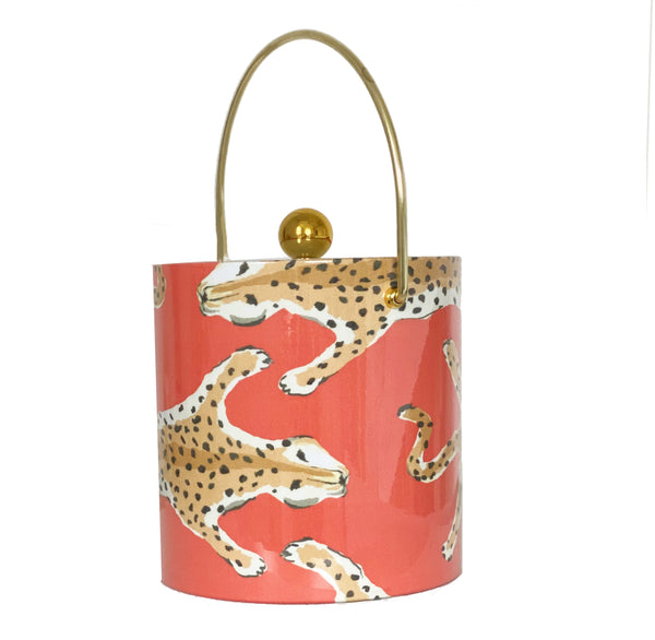Dana Gibson Orange  Leopard Ice Bucket