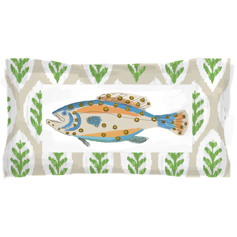 Fish Plaque Lumbar in Taupe