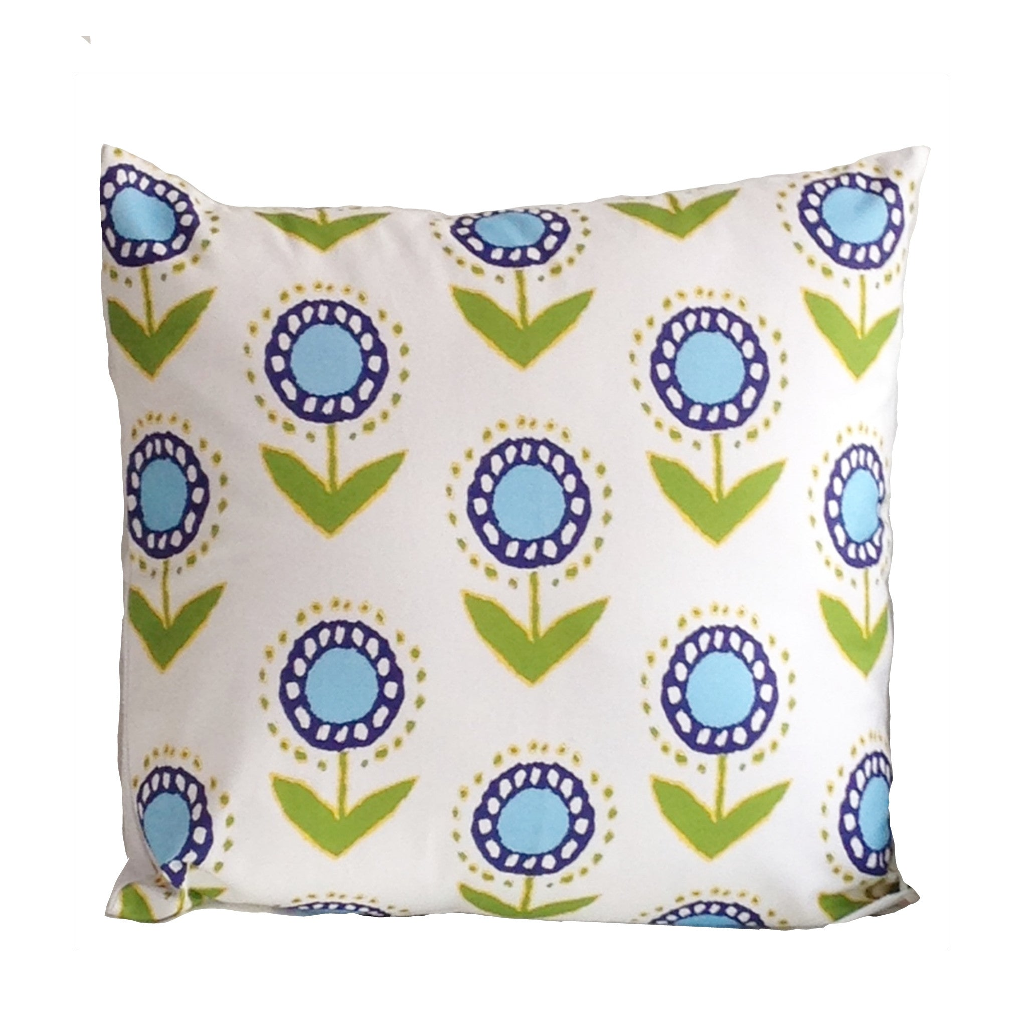 "Posey Ikat in Turquoise on White 22"" Pillow"