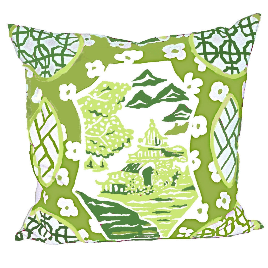 "Canton in Green 22"" Pillow by Dana Gibson p"