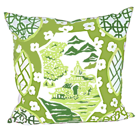 "Canton in Green 22"" Pillow"