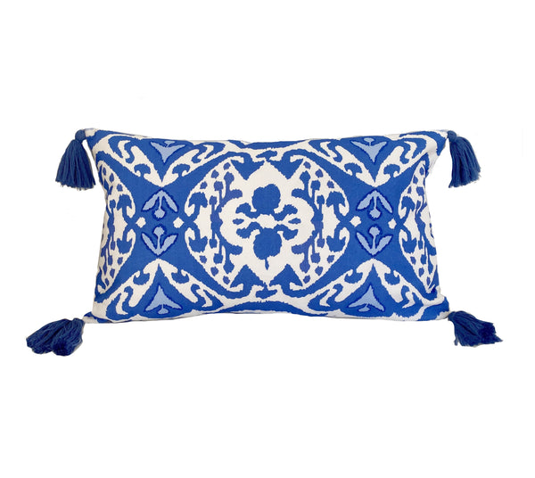 Ikat in Blue Pillow with Tassels