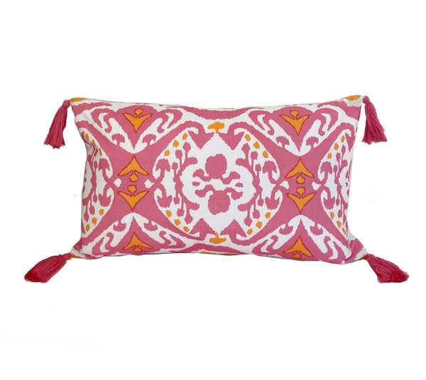 Ikat in Pink Pillow with Tassels