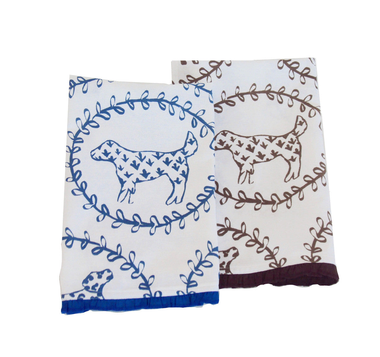 Brown or Navy Dog Tea Towel