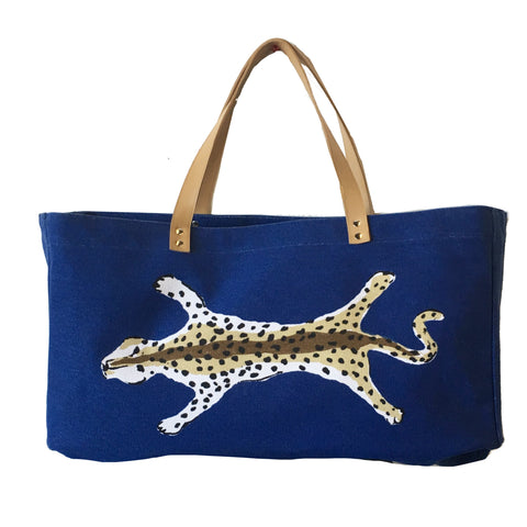 Navy  Leopard Shoulder Tote