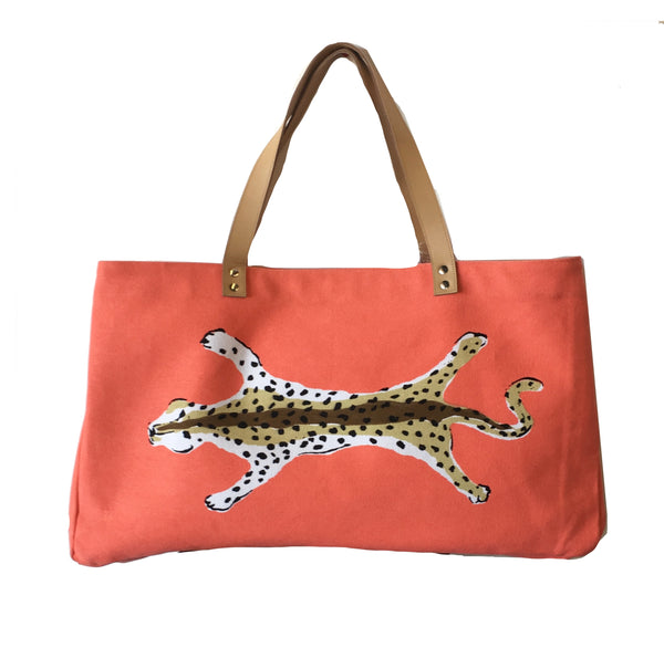 Orange Leopard Shoulder Tote
