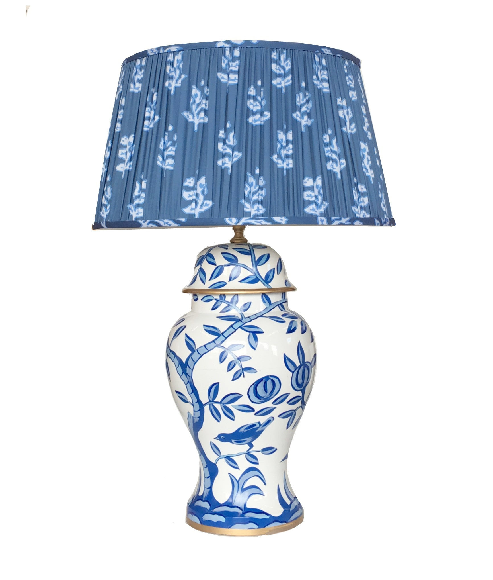 "Cliveden in Blue Lamp with Custom Pleated Shade ""Sprig"""