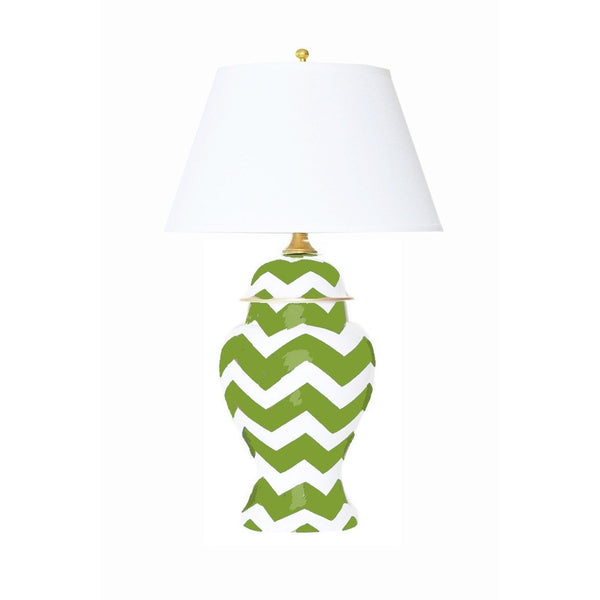 Green Bargello Ginger Jar Lamp