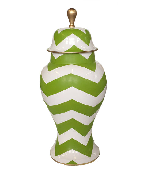 Green Bargello  Ginger Jar, Large