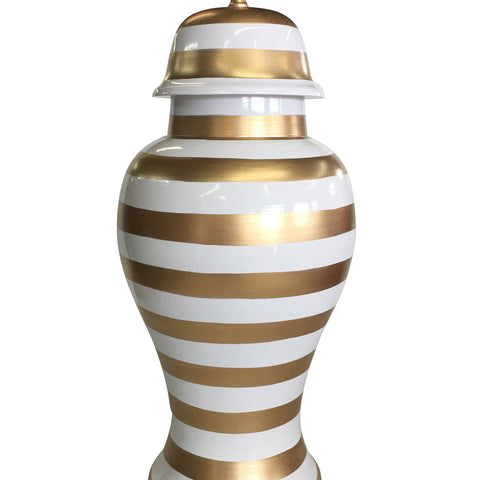 Medium Ginger Jar in Gold Stripe
