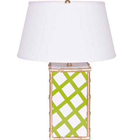 Bamboo Lamp in Green Lattice