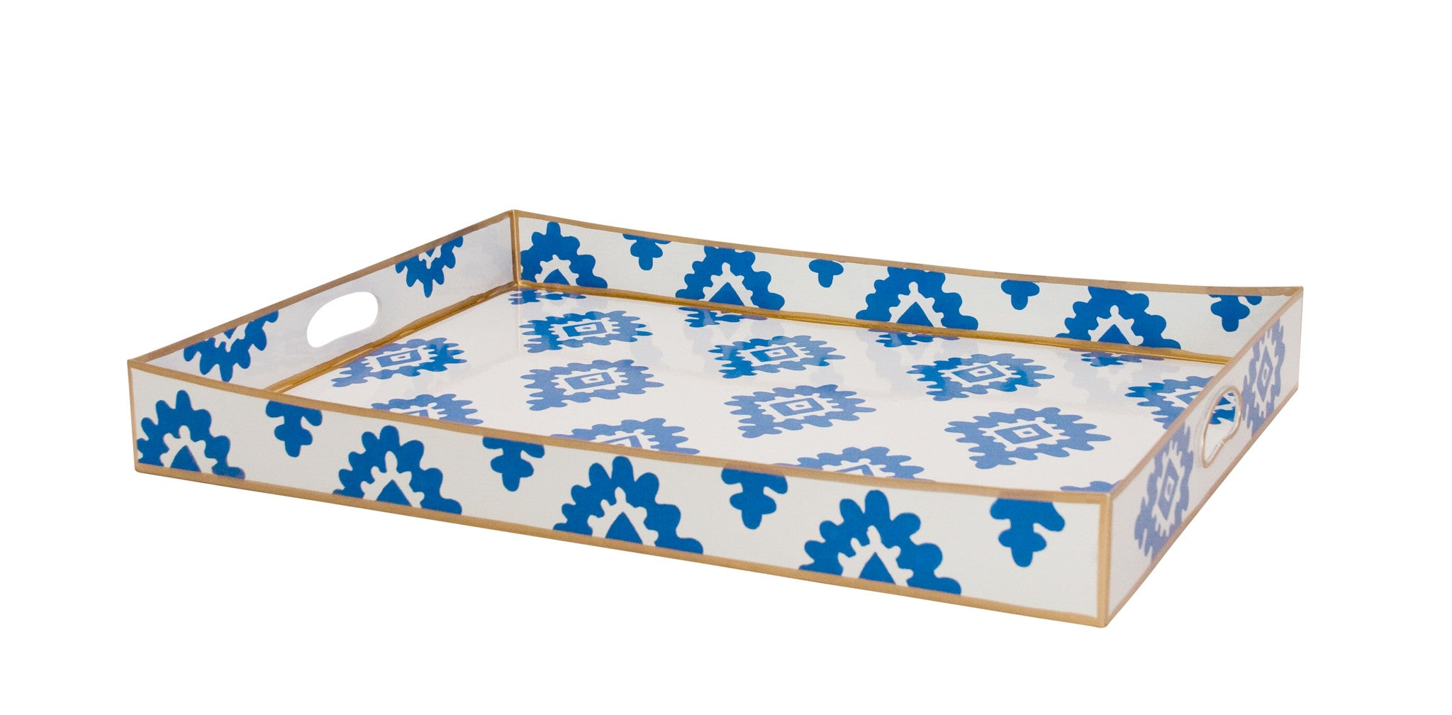 Rectangle Serving Tray in Navy Block Print