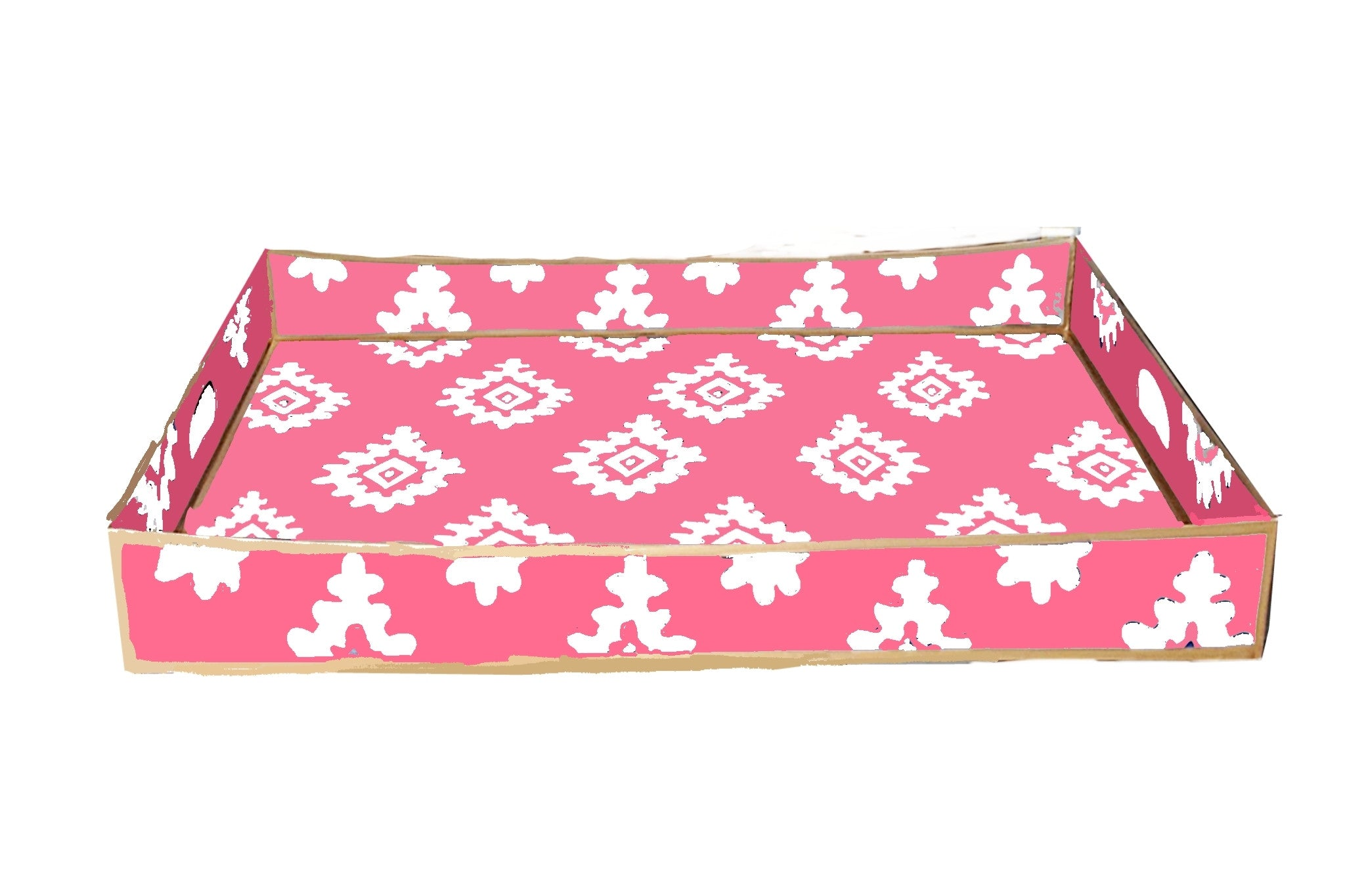 Rectangle Serving Tray in Pink Block Print