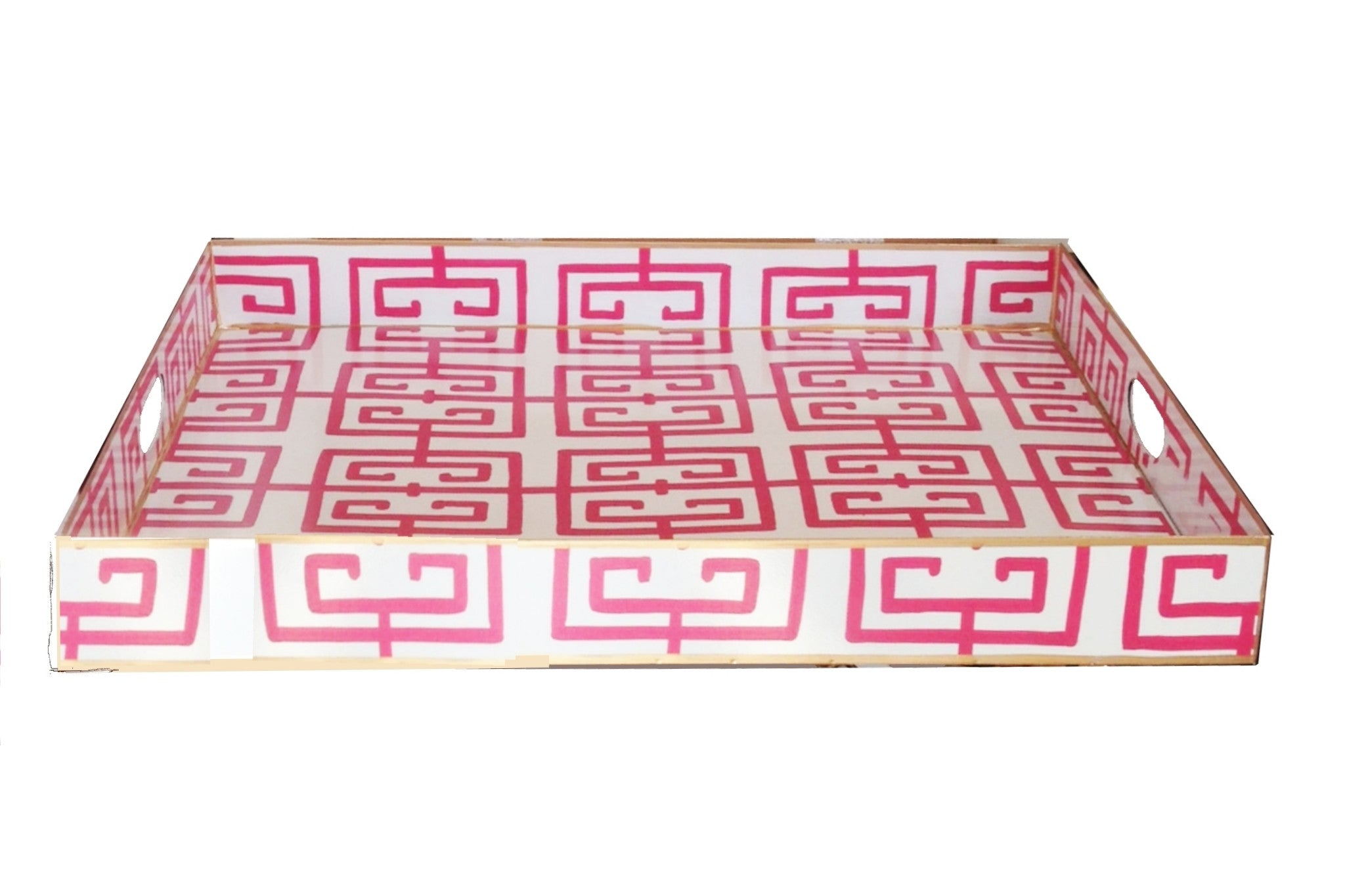 Rectangle Serving Tray in Pink Fret