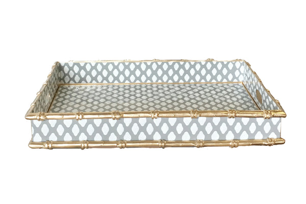 Bamboo Bar Tray in Grey Parsi