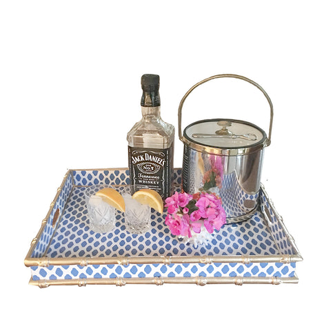 Bamboo Tray in Navy  Parsi Serving Tray