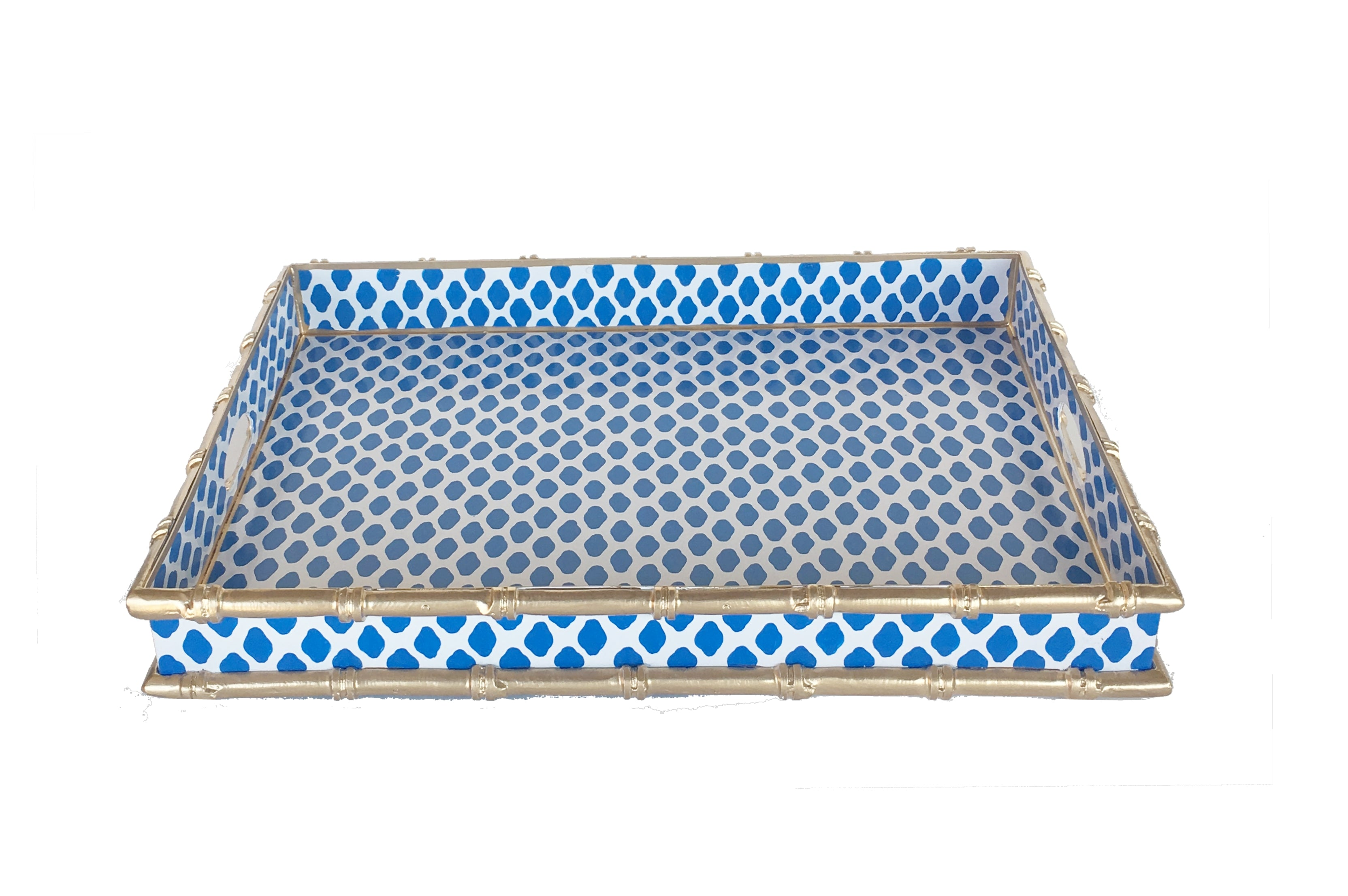 Bamboo Bar Tray in Navy Parsi