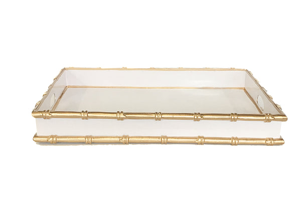 Bamboo in White Serving Tray