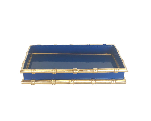 Bamboo in Navy Letter Tray by Dana Gibson