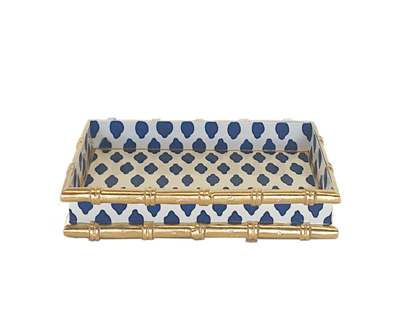 Dana Gibson Bamboo in Navy Parsi Letter Tray