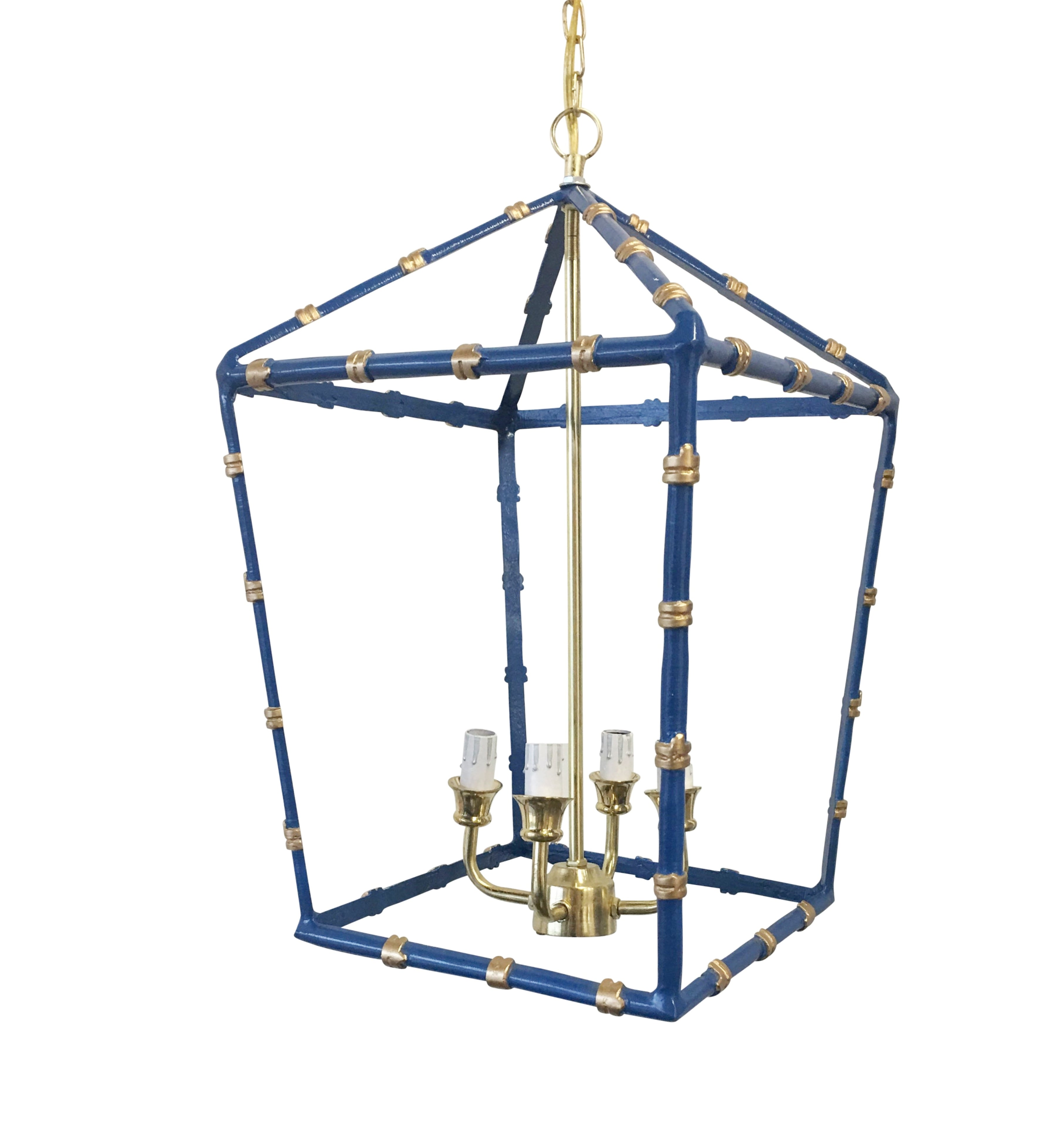 Large Bamboo Lantern in Navy