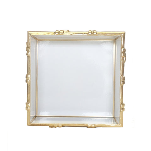 Bamboo in White Square Tray