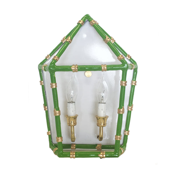Bamboo in Green Sconce