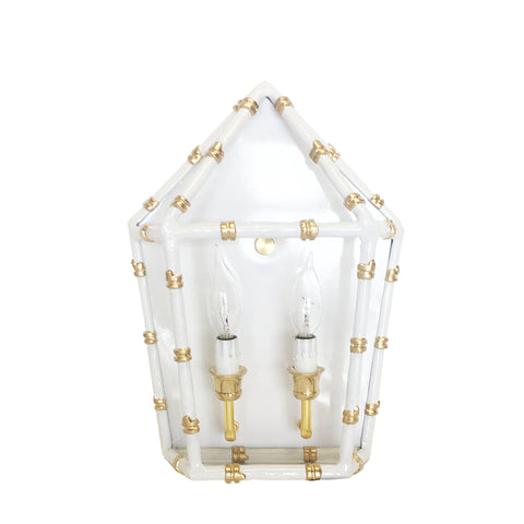 Bamboo in White Sconce
