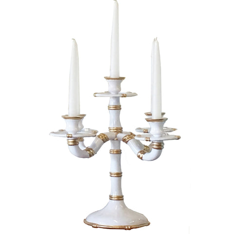 Bamboo Candelabra in White