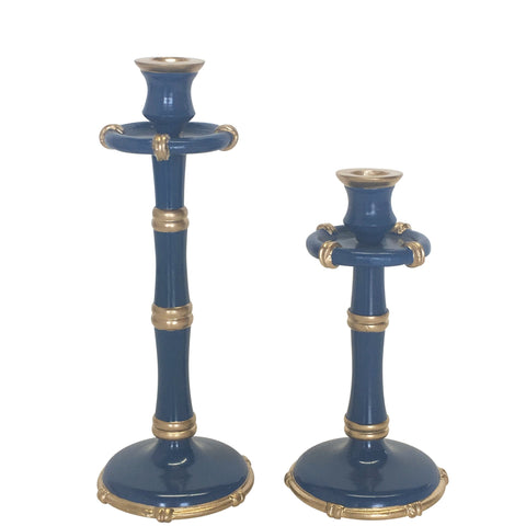 Bamboo Candlesticks in Navy