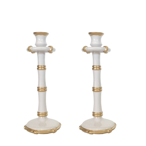 Tall Bamboo Candlesticks in White