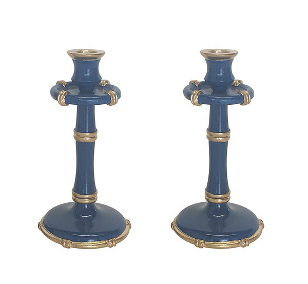 Medium Bamboo Candlesticks in Navy