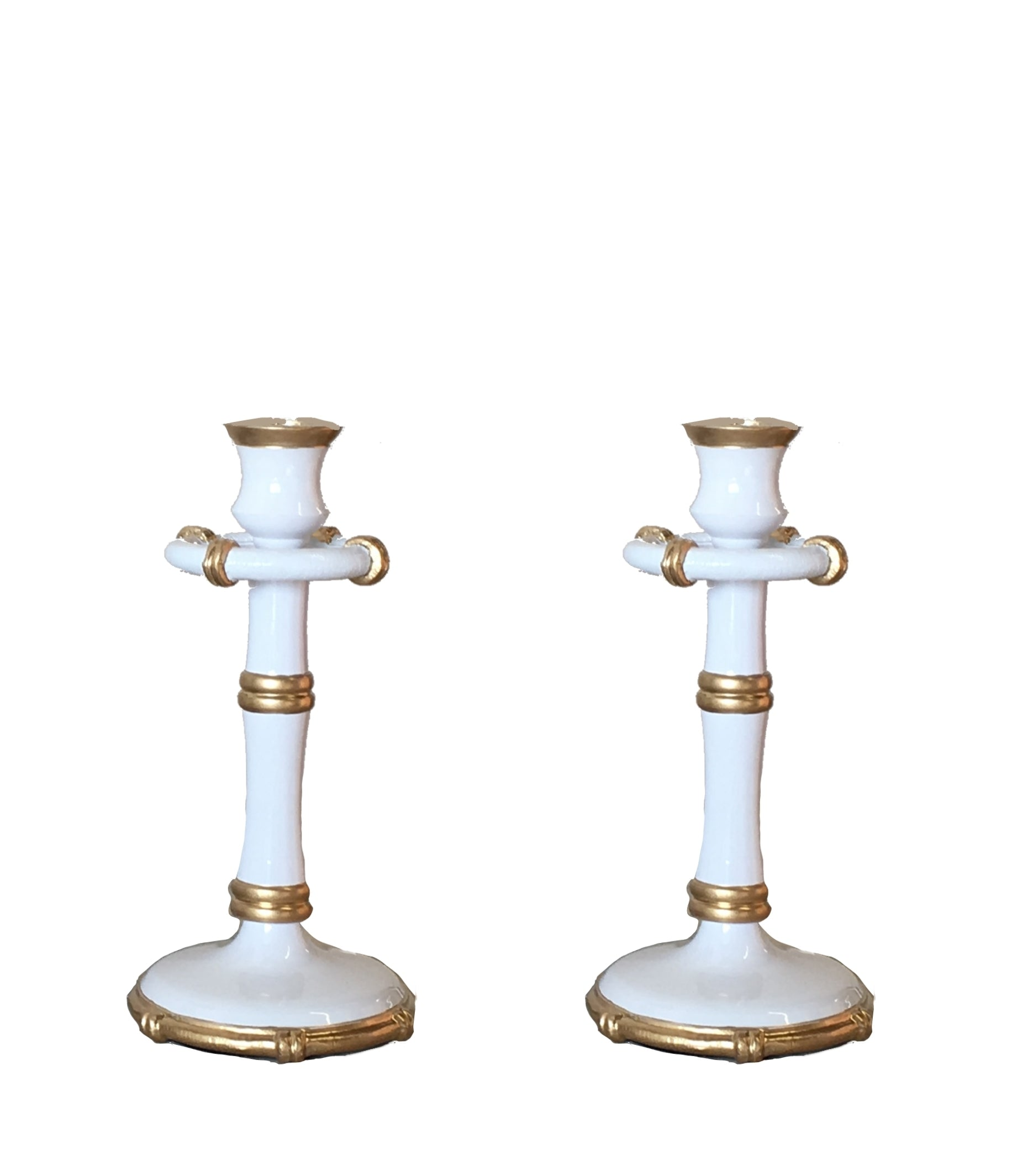 Pair of Medium Bamboo Candlesticks in White