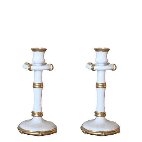 Medium Bamboo Candlesticks in White