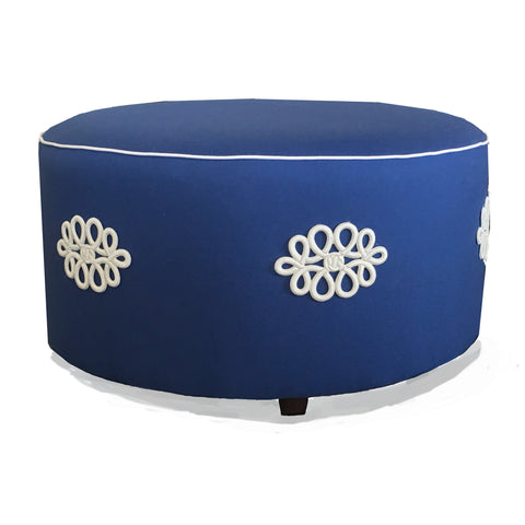 Shang Knot Ottoman in Navy