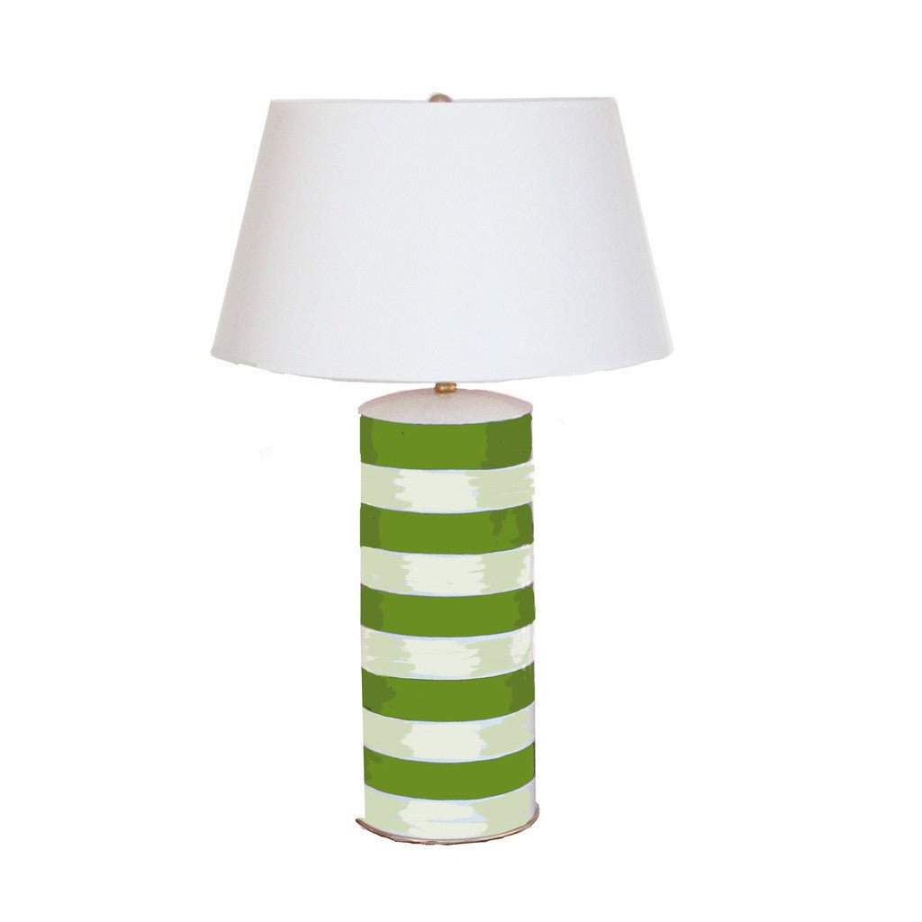 Green Striped Stacked Lamp
