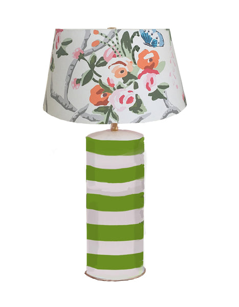 Green Stripe Lamp with Chintz Shade