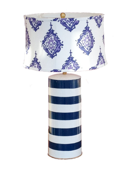 Blue Stripe Stacked Lamp