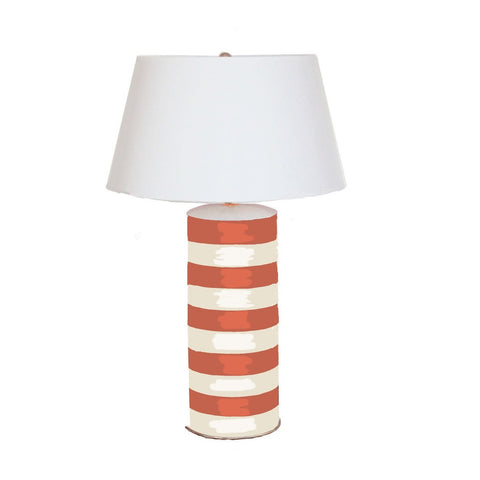 Orange Stripe Stacked Lamp