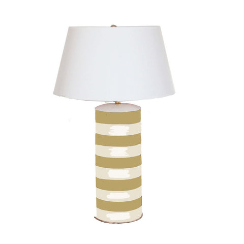 Taupe Stripe Stacked Lamp