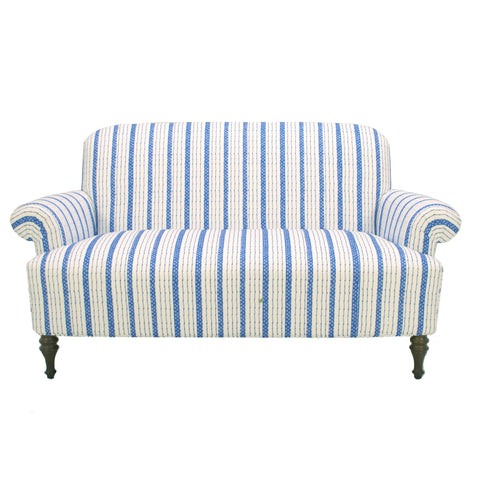 Josie Love Seat in Blue Ticking