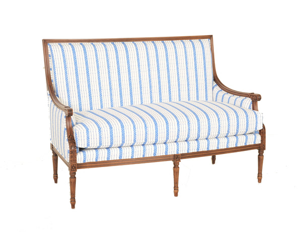 Olivers Settee in Blue Ticking