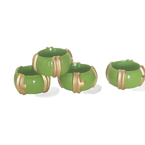 Bamboo Napkin Rings in Green/Set of Four