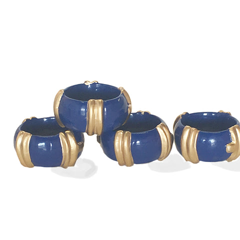 Bamboo Napkin Rings in Navy/Set of Four