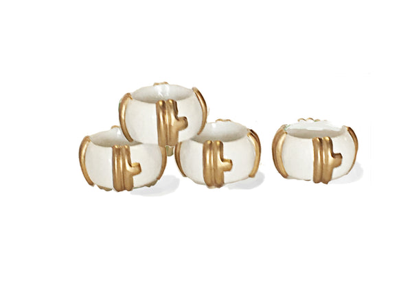 Bamboo Napkin Rings in White/Set of Four