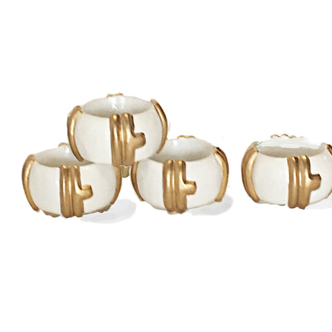 Bamboo Napkin Rings in White
