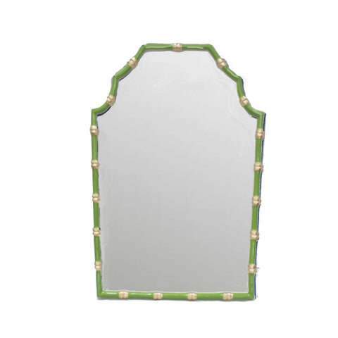 Dana Gibson Bamboo Mirror in Green