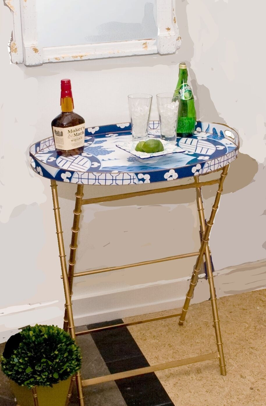 Canton In Blue Tray Table Or Bar Dana Gibson