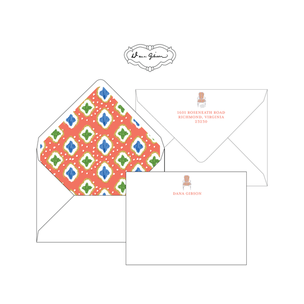Coral Nance Chair Personalized Stationery-Flat card with Envelope Liner