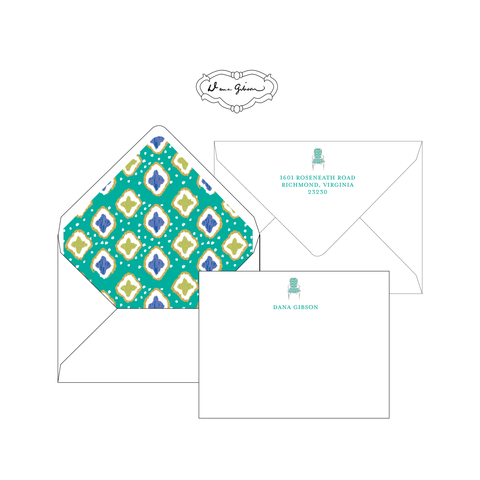 Turquoise Nance Chair Personalized Stationery-Flat card with Envelope Liner